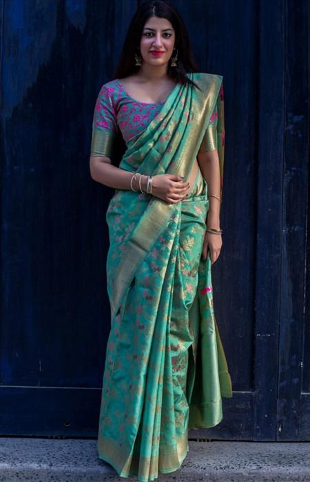 Dapper Blue Color Designer Soft Silk Saree SC7004