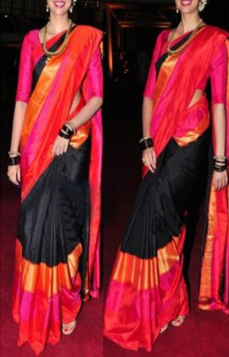 Engrossing Black and Red Color Soft Silk Designer Sarees FN624