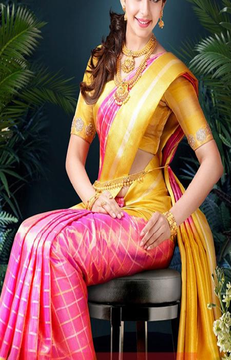 Scintillating Pink And Yellow Color Designer Soft Silk Saree SC3115
