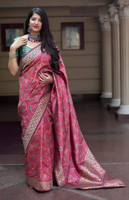 Vibrant Hot Pink Color Soft Silk Designer Sarees SC7014