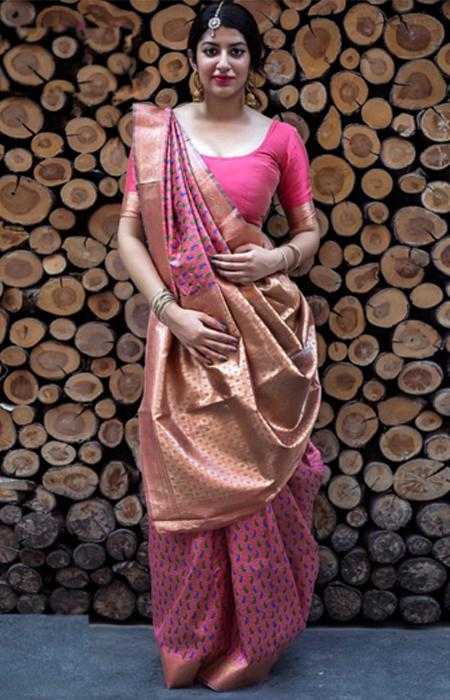 Heavenly Hot Pink Color Designer Soft Silk Saree SC7009