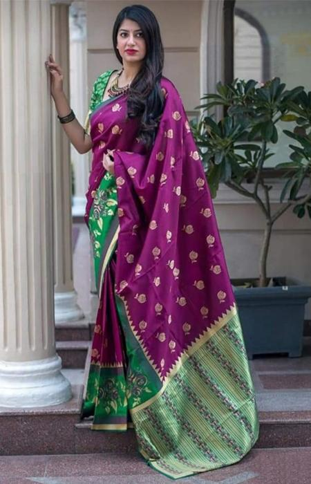 Fabulous Hot Pink and Green Color Designer Soft Silk Saree SC7007