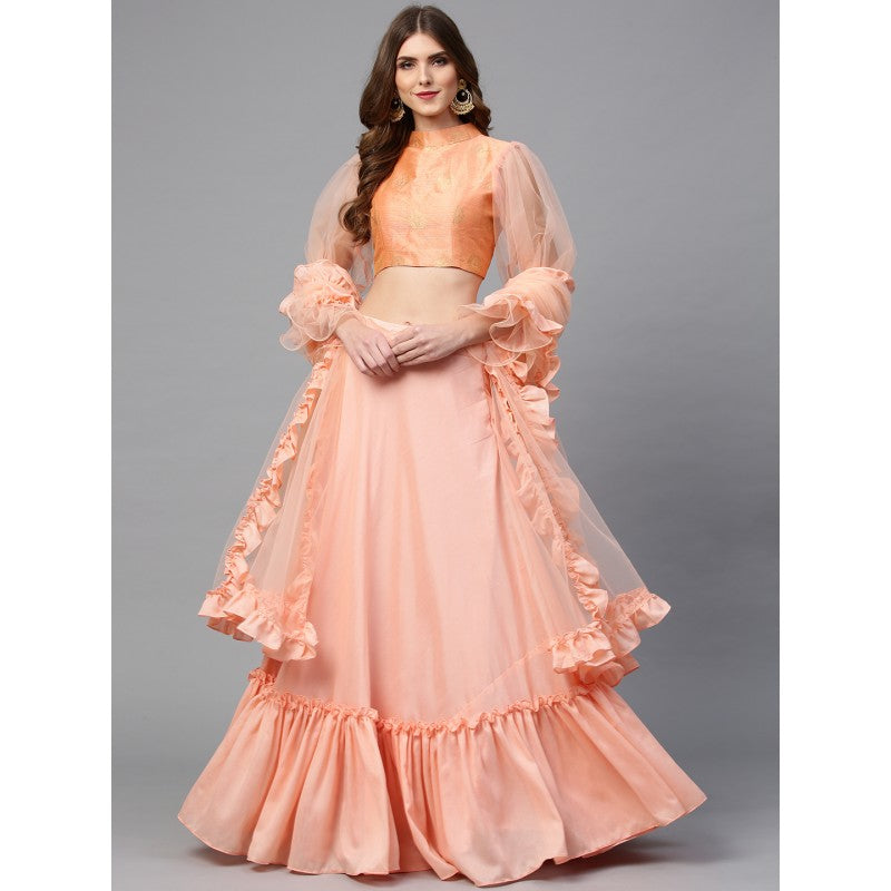 Orange Coloured Solid Semi-Stitched Lehenga & Unstitched Blouse with Dupatta
