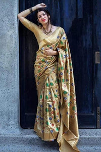 Beauteous Gold Color Designer Soft Silk Saree SC7002