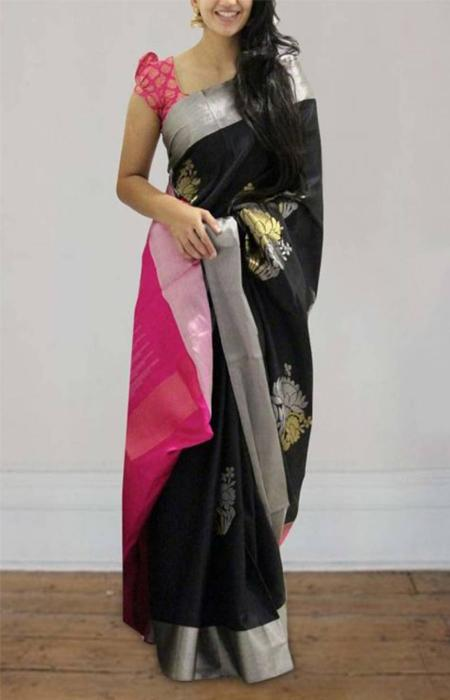 Buoyant Black and Pink Color Soft Silk Saree FN595