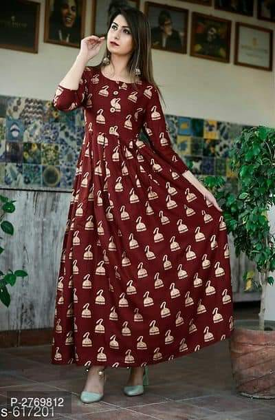 Beauteous Bell Desing Digital Print Maroon Color Havy Crepe Long Gown