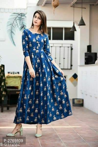 Beauteous Bell Desing Digital Print Royal Blue Color Havy Crepe Long Gown