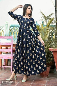 Beauteous Bell Desing Digital Print Navy Blue Color Havy Crepe Long Gown