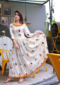 Outstanding Floral Print Mustard Color Havy Crepe Anarkali Gown