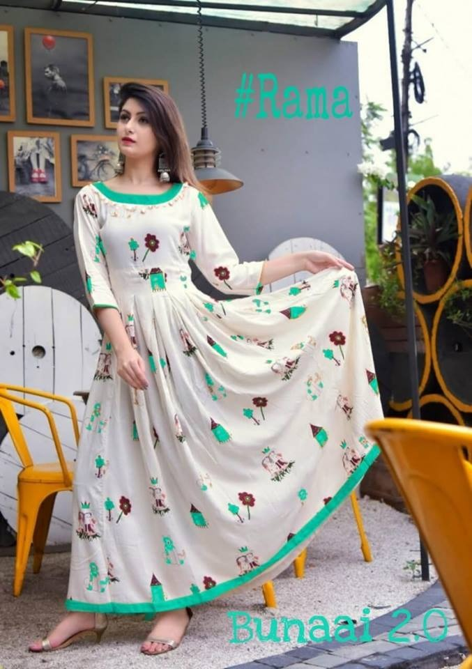 Outstanding Floral Print Rama Color Havy Crepe Anarkali Gown