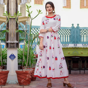 Outstanding Floral Print Red Color Havy Crepe Anarkali Gown