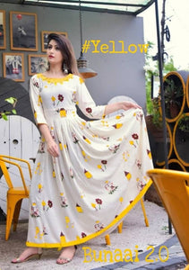 Outstanding Floral Print Yellow Color Havy Crepe Anarkali Gown