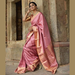 Alluring Pink Color Khadi  Sillk Saree DL9004