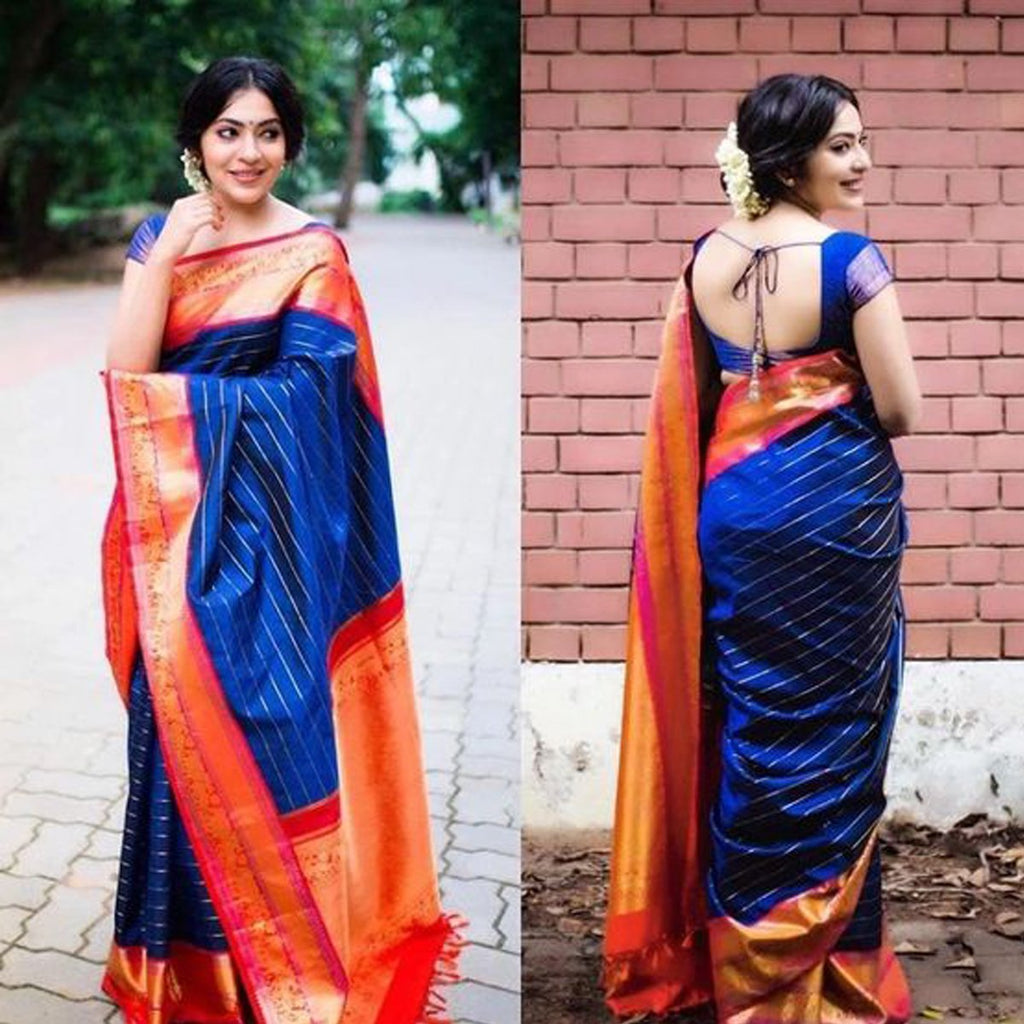 Latest Blue and Red Color Khadi SIlk Saree DL9005