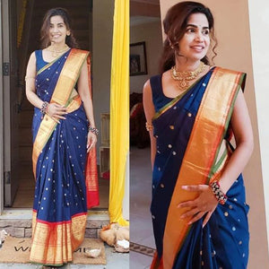 Dazzling Blue and Red Color Khadi SIlk Saree DL9009