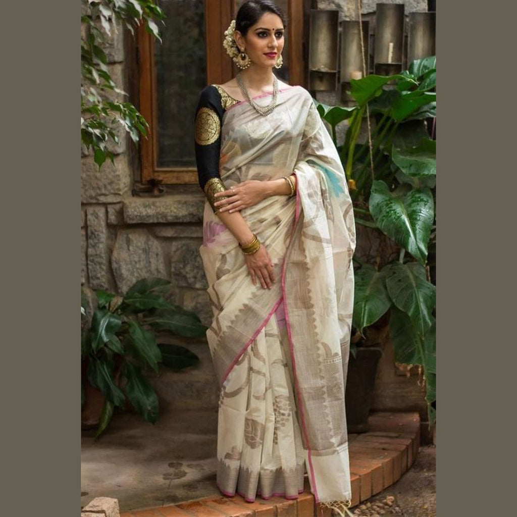 Refreshing Offwhite COlor Khadi Silk Saree DL9013