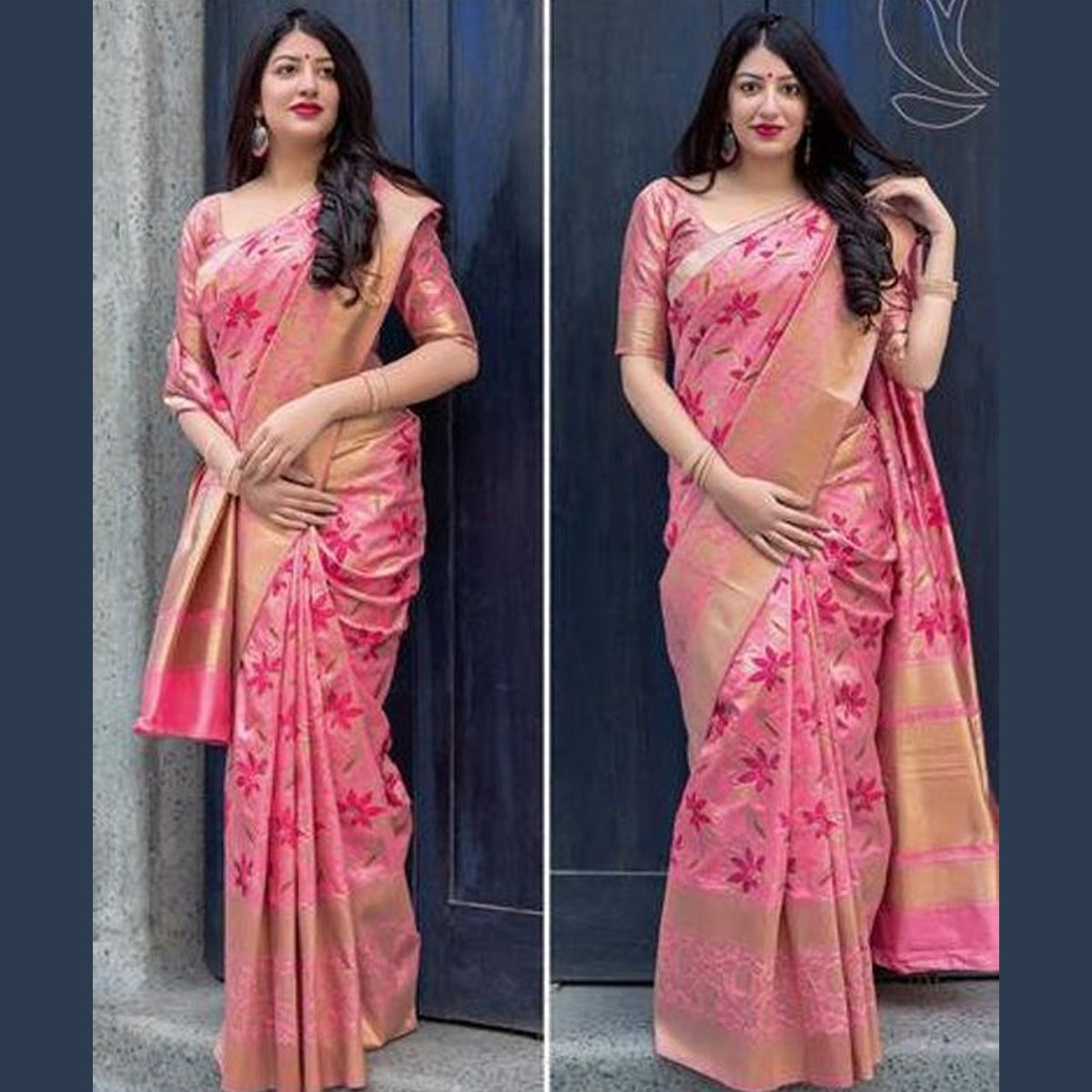 Fancifull Pink Color Khadi SIlk Saree DL9015