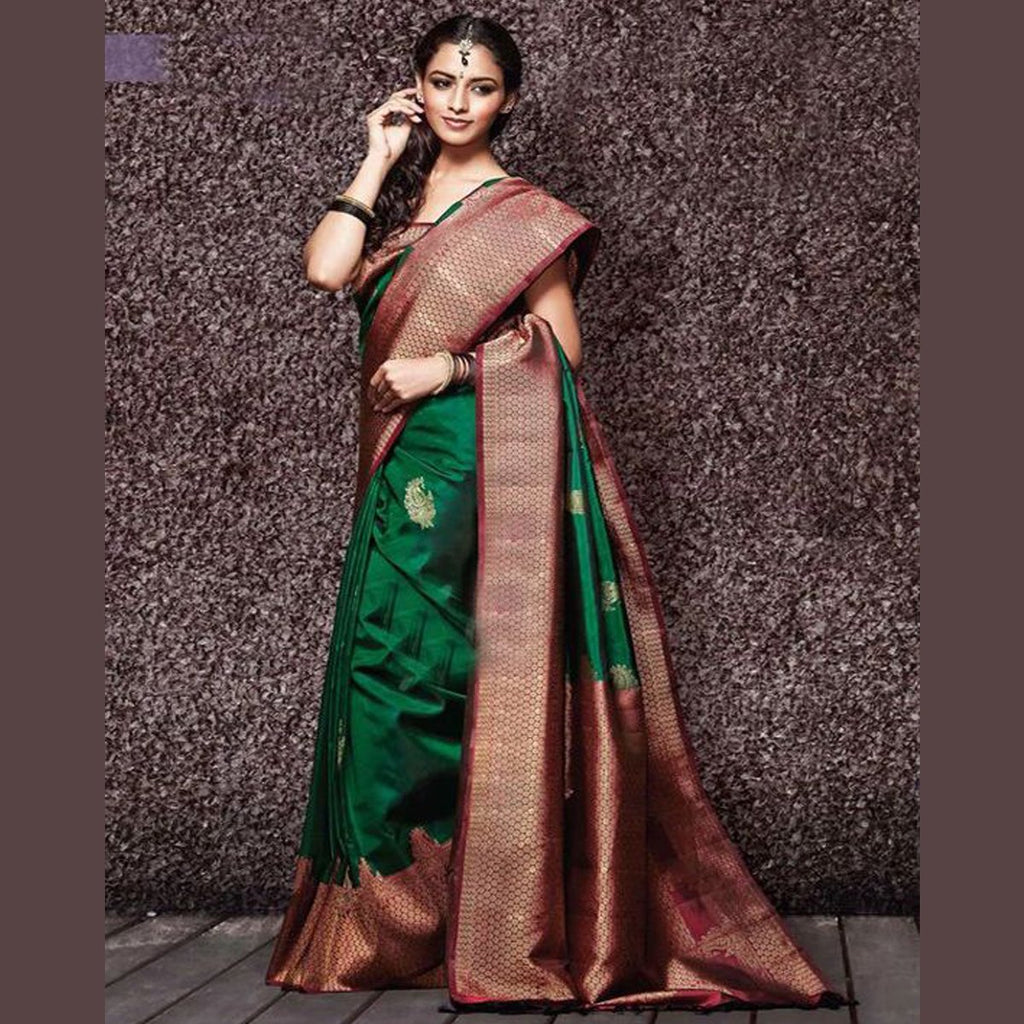 Lovely Green And Red Color Khadi SIlk Saree DL9017