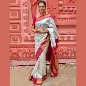 Excellent Offwhite And Red Color Khadi Silk Saree DL9024