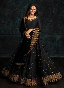 Speculative Black Color Embroidered Lace work Designer Lehenga Choli