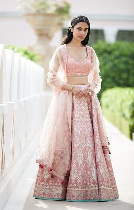 Doddering Peach Color New Designer Bridal Double Gher Georgette Lehenga Choli