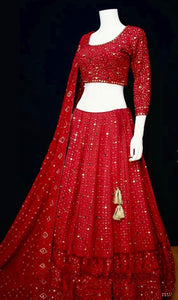 Spruce Red Color Bridal Designer Lehenga Choli