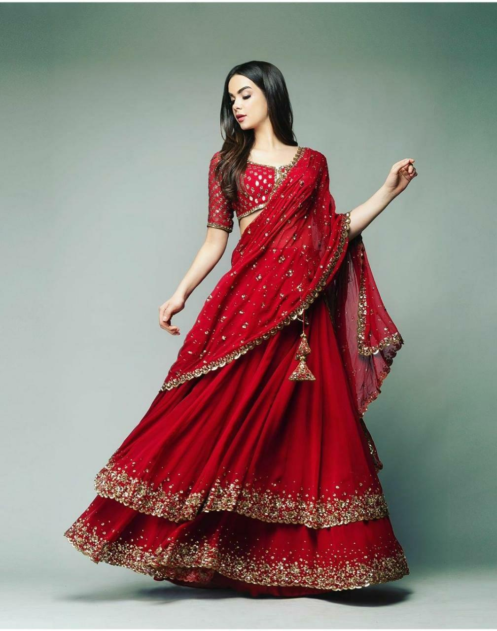 Definitive Red Color New Designer Double Gher Georgette Lehenga Choli