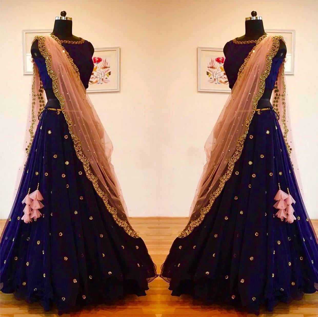 Thinkable Dark Blue Color New Embroidery Buti Work Lehenga Choli