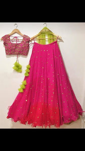 Stylishness Pink Color Fuax Georegtte Embrodery Lehenga Choli
