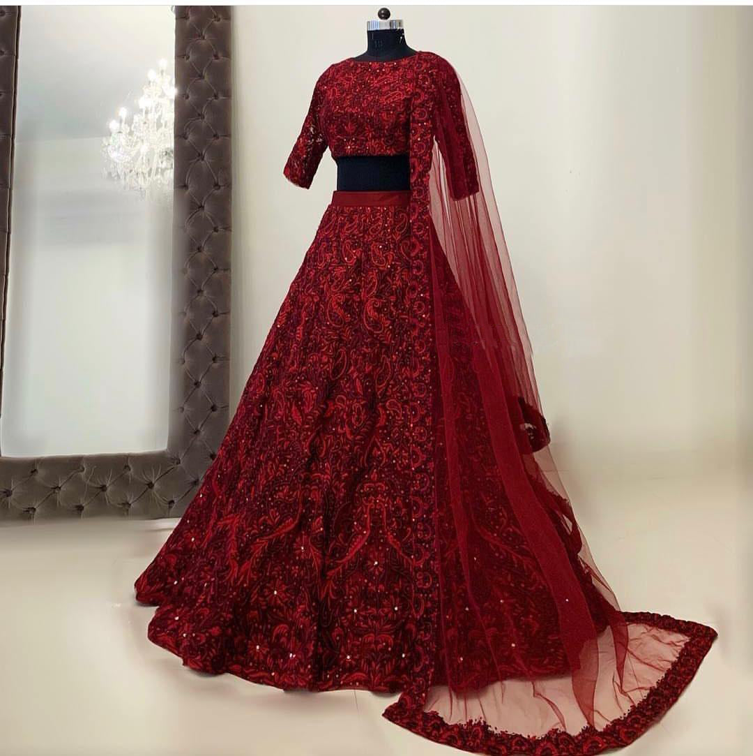 Idealistic Maroon Color Bridal Designer Lehenga Choli