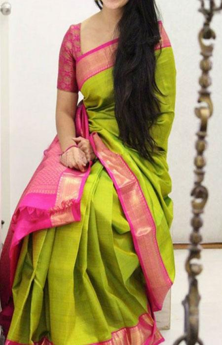 Elegant Green Color Soft Silk Designer Sarees FN1024