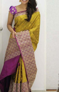 Divine Yellow N Pink Color Soft Silk Saree FN1099