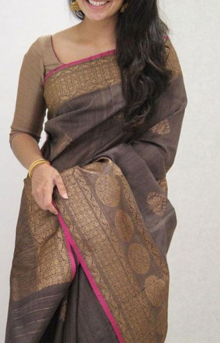Dapper Coffee Color Soft Silk Designer Sarees FN1105