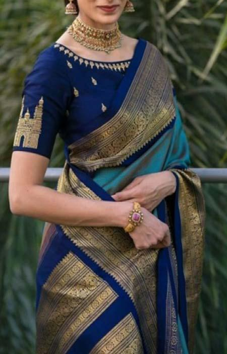 Exclusive Blue Color Soft Silk Designer Saree FN117