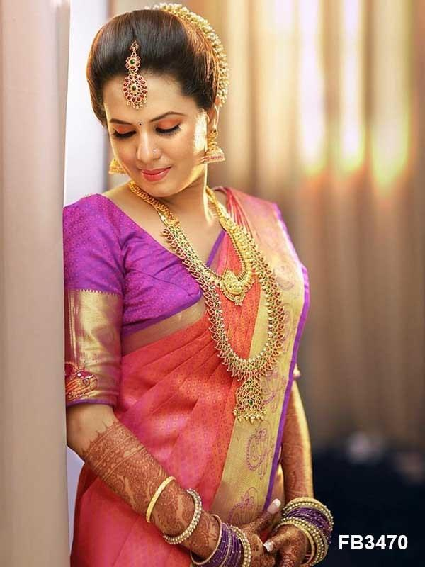 Admirable Pink Color Designer zarna silk saree FN2601