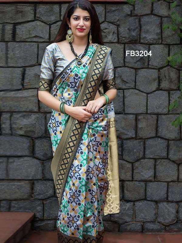 Glorious Blue Color Designer zarna silk saree FN2657