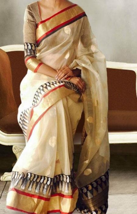 Cream Color Border Printed Soft Silk Saree FN621