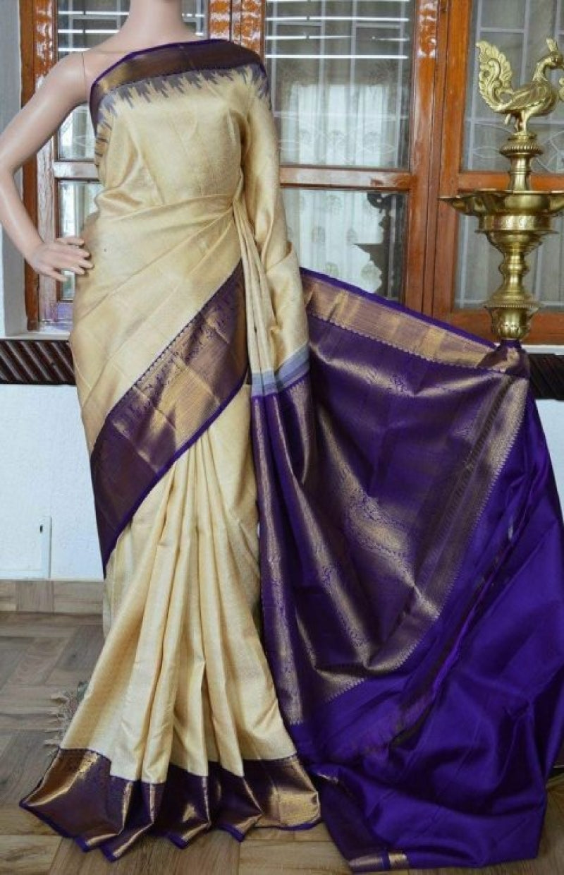 Dazzling cream n Blue Soft Silk Saree FN820