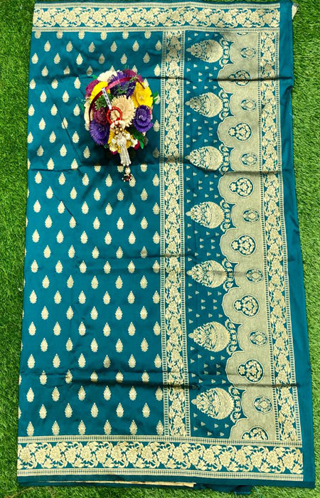 Vibrant Drak Blue Color Designer Cotton Silk with Jacquard Border saree