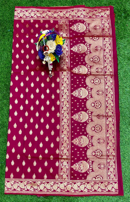 Charismatic Maroon Color Designer Cotton Silk with Jacquard Border saree