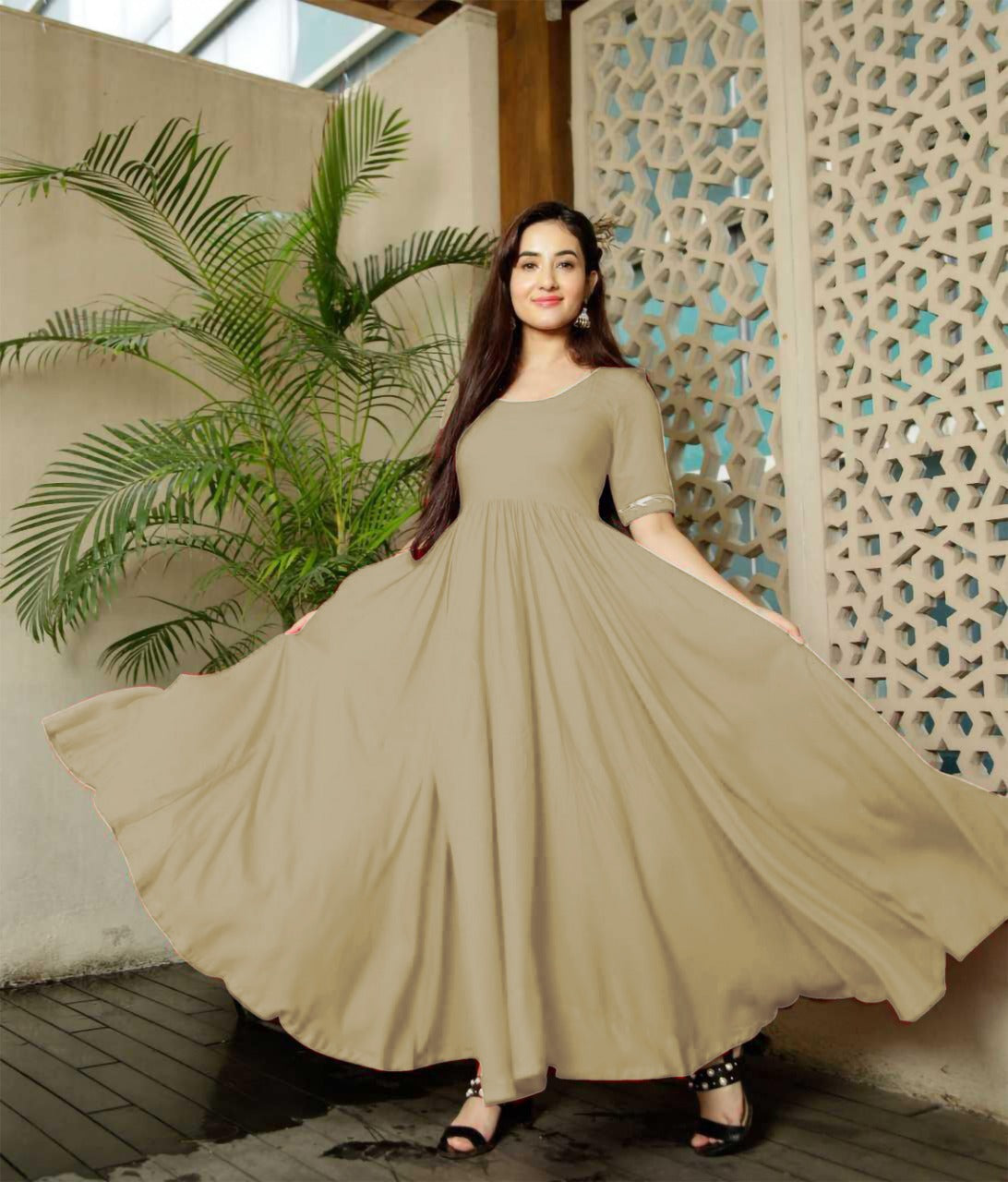 Glammrous Beige Color Plain Rayon Multi Occasion Gown