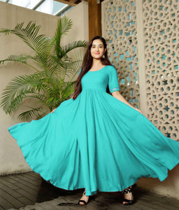 Glammrous Sky Blue Color Plain Rayon Multi Occasion Gown