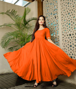 Glammrous Orange Color Plain Rayon Multi Occasion Gown