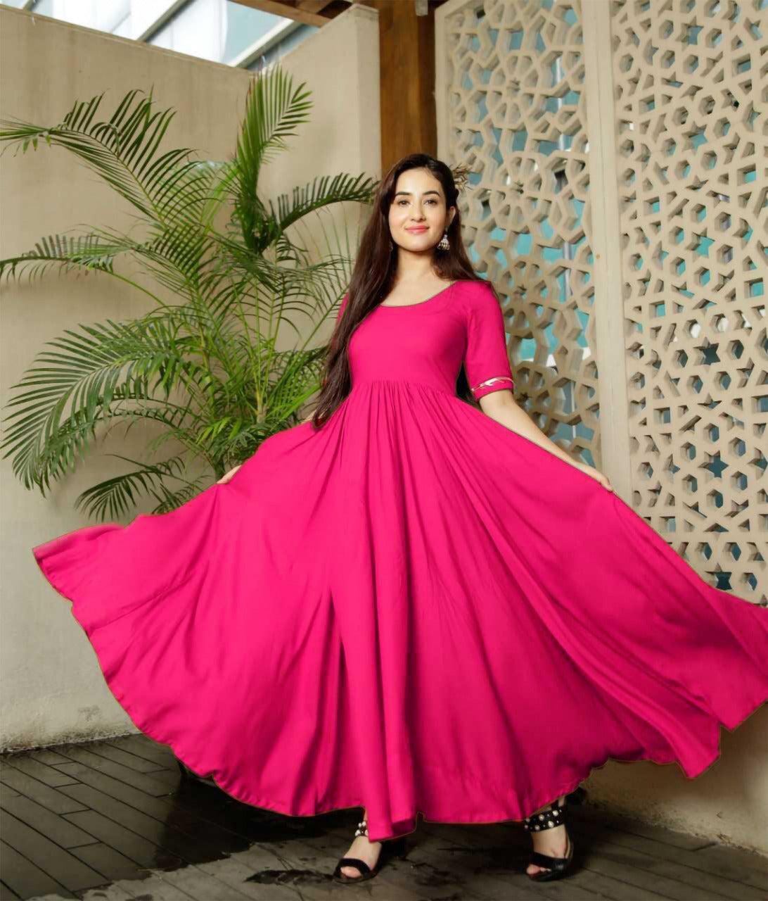 Glammrous Pink Color Plain Rayon Multi Occasion Gown
