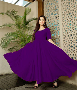 Glammrous Purple Color Plain Rayon Multi Occasion Gown
