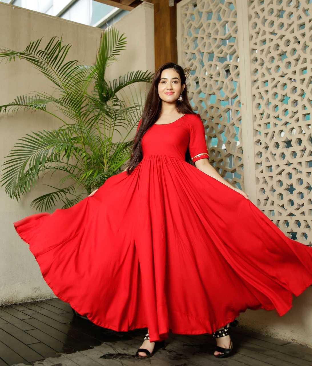 Glammrous Red Color Plain Rayon Multi Occasion Gown
