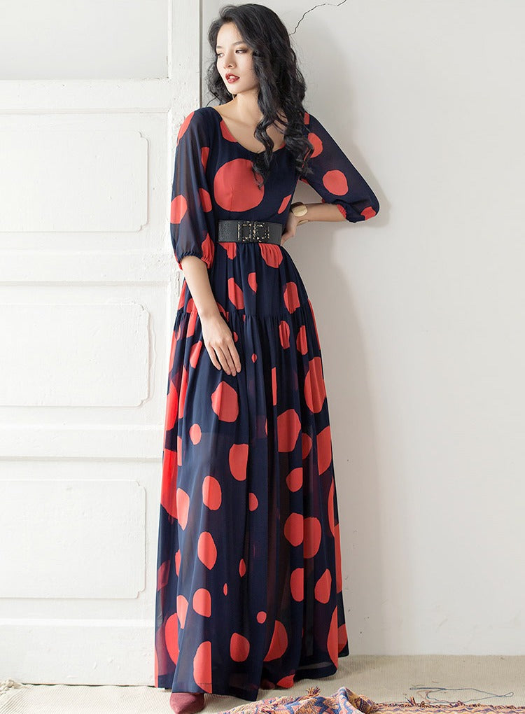 Elegance Navy Blue And Red Color Digital Printed Long Gown