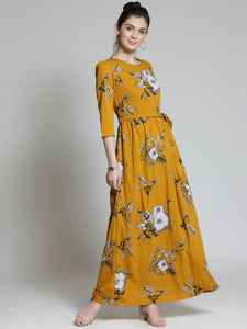 Adorning Mustard Color Floral Digital Printed Gown