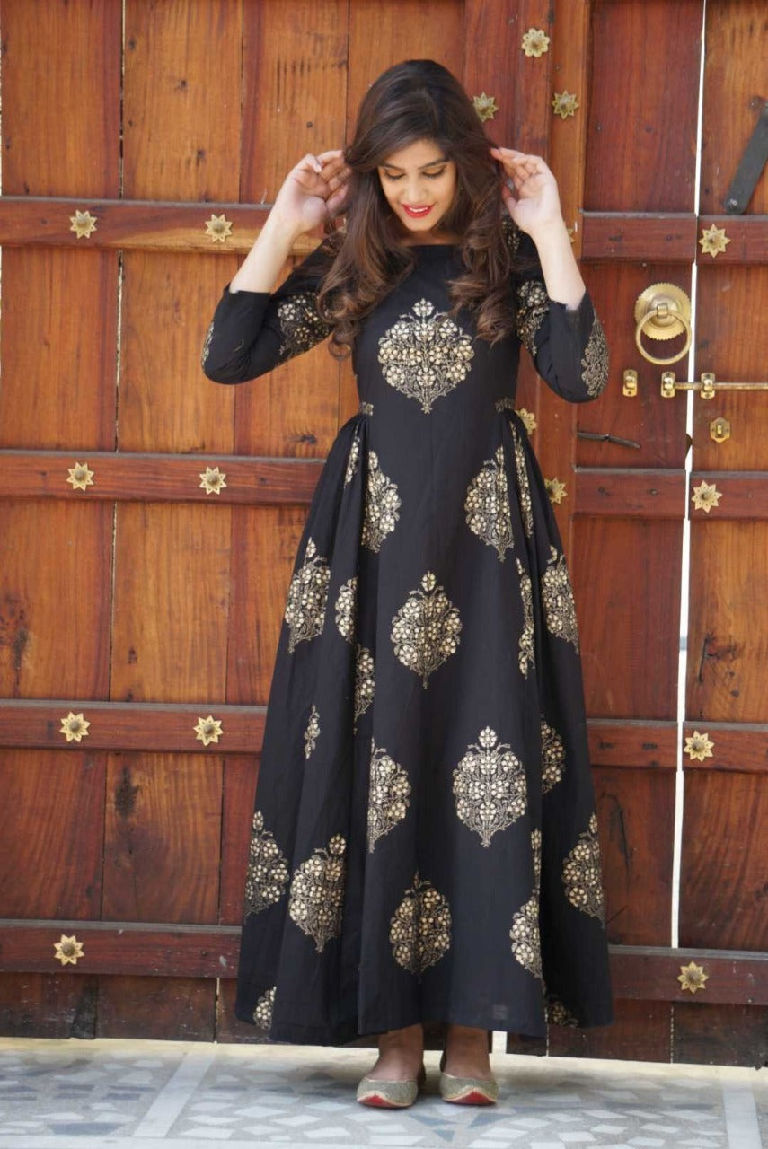 Radient Black Color Digital Printed Long Gown