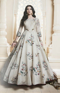 Dashing Grey Color Havy Crepe Digital Printed Gown